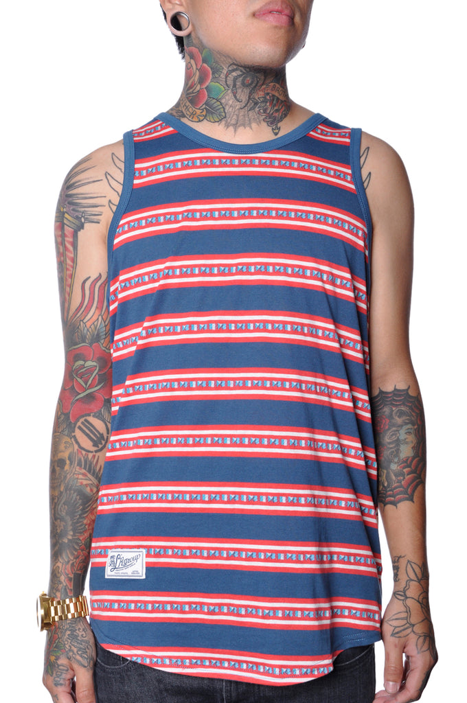 LRG Striped Basic Tank Top Mens Blue Multi Lifted Research Group