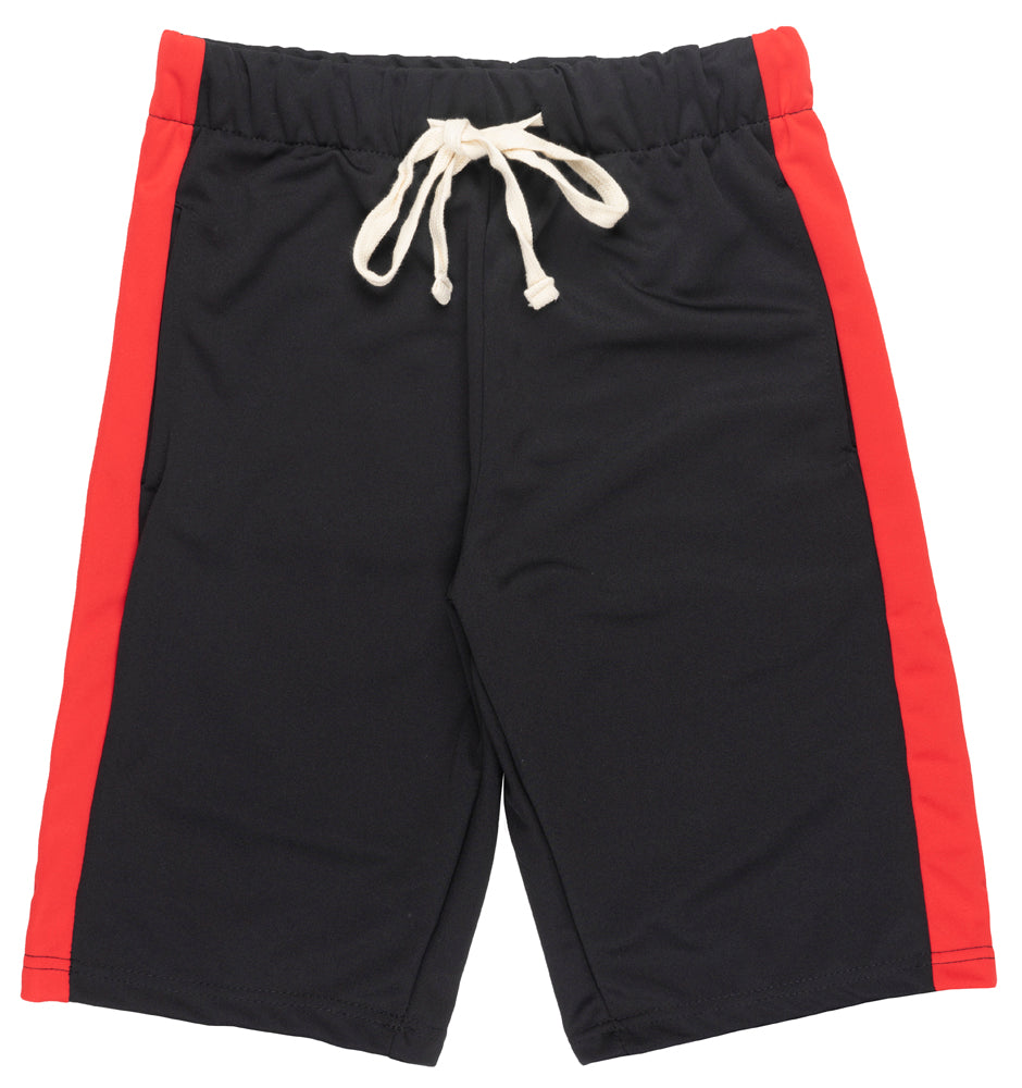 M Society Track Shorts Drawstring Slim Fit Pockets Striped Black Red NWT Mens