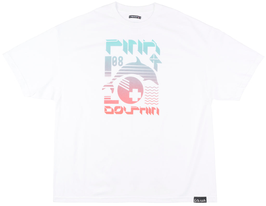 Pink Dolphin Pulse Collage T-Shirt Streetwear Mens White