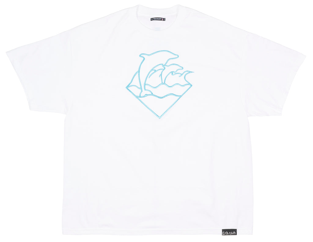 Pink Dolphin Waves Short Sleeve Plus Size T-Shirt Skatewear Tee Top Mens White