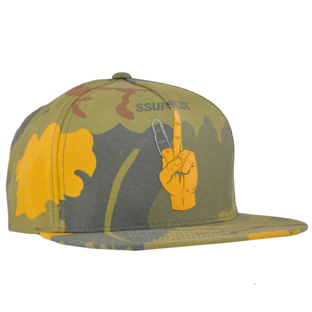 SSUR Snapback Hat One Finger Peace Mens Camo Platoon Cap Adjustable Authentic