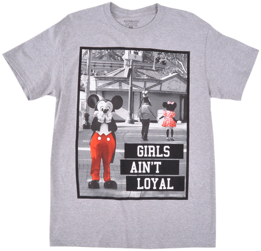 Mickey Mouse Aint Loyal T-Shirt Grey Authentic Classics Parody Mens