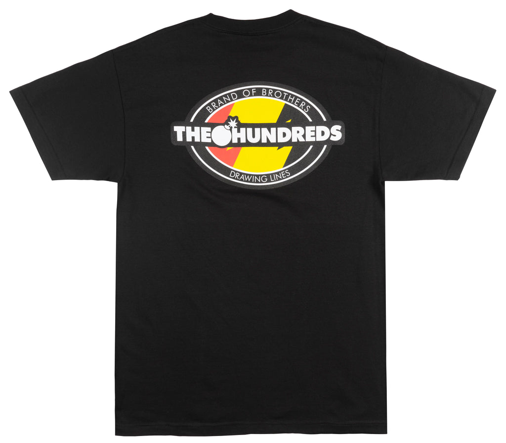 THE HUNDREDS VARSITY T-SHIRT MENS BLACK EMBROIDERED SKATE TOP NWT 2018 FALL TOP