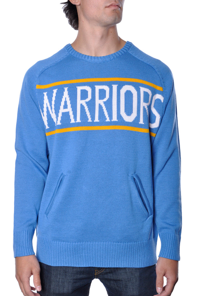 Golden State Warriors Knitted Sweater Pullover NBA Apparel Mens Blue