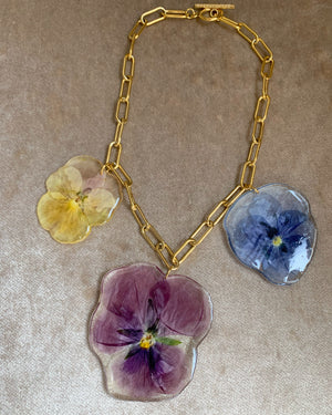 Pansy Trilogy Forest Floor Choker-- One of a Kind