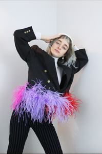 (one-of-a-kind) LOREN confetti patch feather blazer