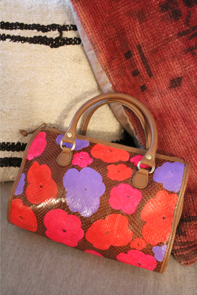 Peggy Handpainted Snakeskin Bag