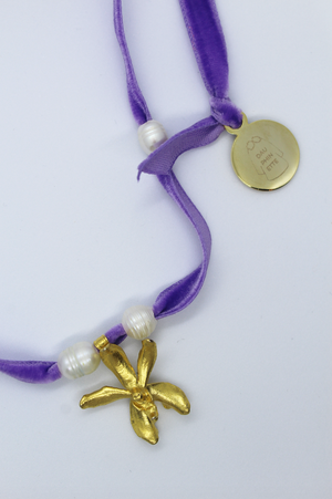 18k Gold Camp Necklace - Lavender