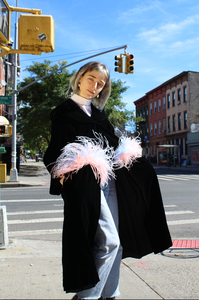 MADELEINE cotton candy feathered coat