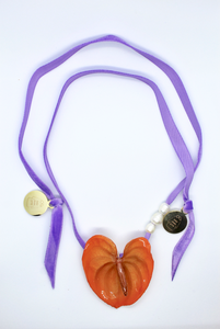 Mini Amour Necklace - Orange Anthurium