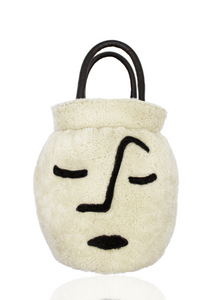 Face Vase in Cream Shearling