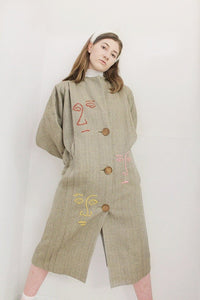FERN coat with hand-embroidery