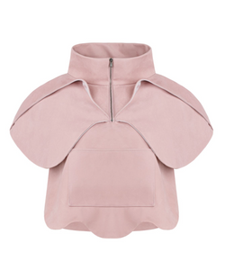 Orchid Zip Jacket in Blush Suede (Pre-order)