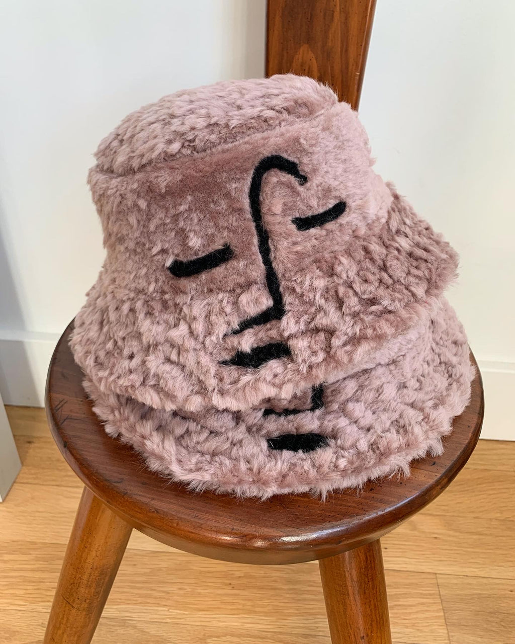 Rosewood Shearling Face Hat