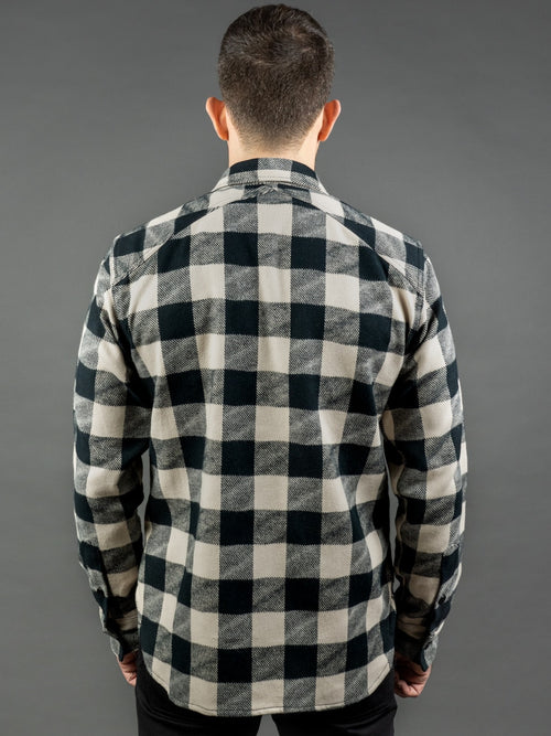 3sixteen Crosscut Flannel White/Black Drunk Check fit back