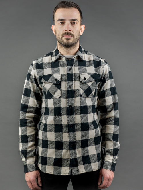 3sixteen Crosscut Flannel White/Black Drunk Check fit