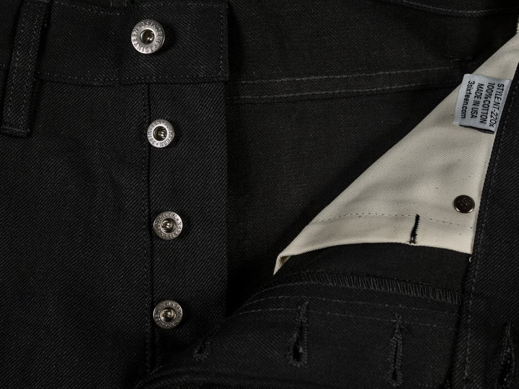 3sixteen NT-220x Shadow Selvedge Narrow Tapered Jeans buttons