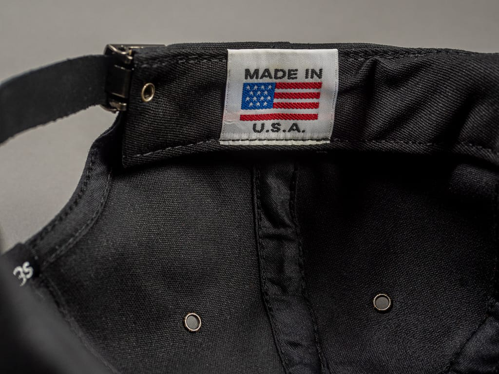 3sixteen Waxed Canvas Baseball Cap Black USA tag