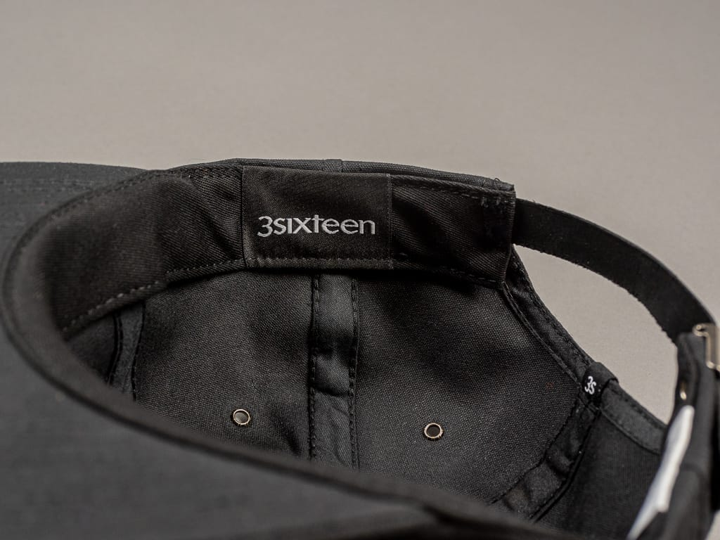 3sixteen Waxed Canvas Baseball Cap Black tag interior