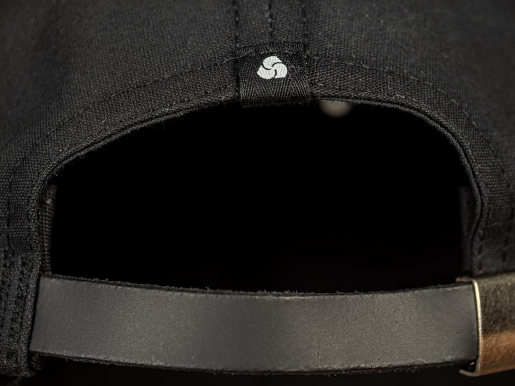 3sixteen Waxed Canvas Baseball Cap Black leather strap