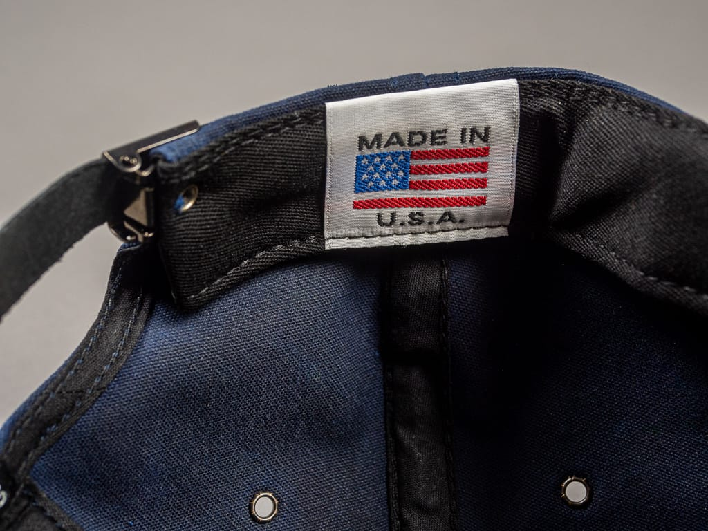 3sixteen Waxed Canvas Baseball Cap Navy USA tag