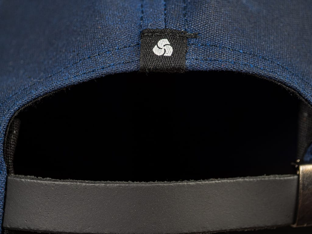 3sixteen Waxed Canvas Baseball Cap Navy leather strap