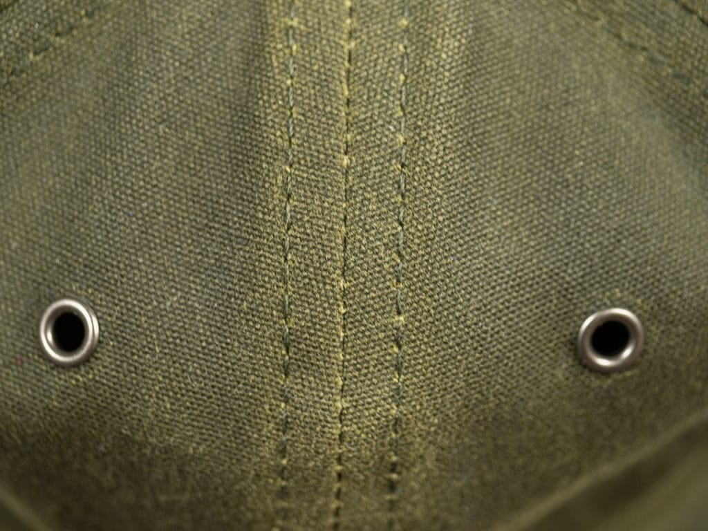 3sixteen Waxed Canvas Baseball Cap Olive fabric detail