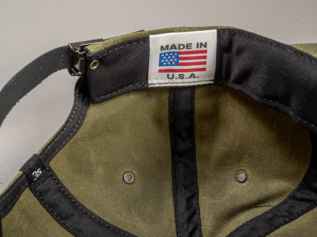 3sixteen Waxed Canvas Baseball Cap Olive USA tag