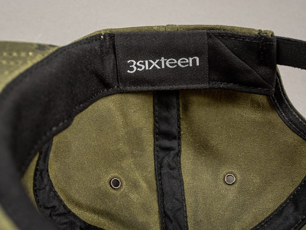 3sixteen Waxed Canvas Baseball Cap Olive interior tag