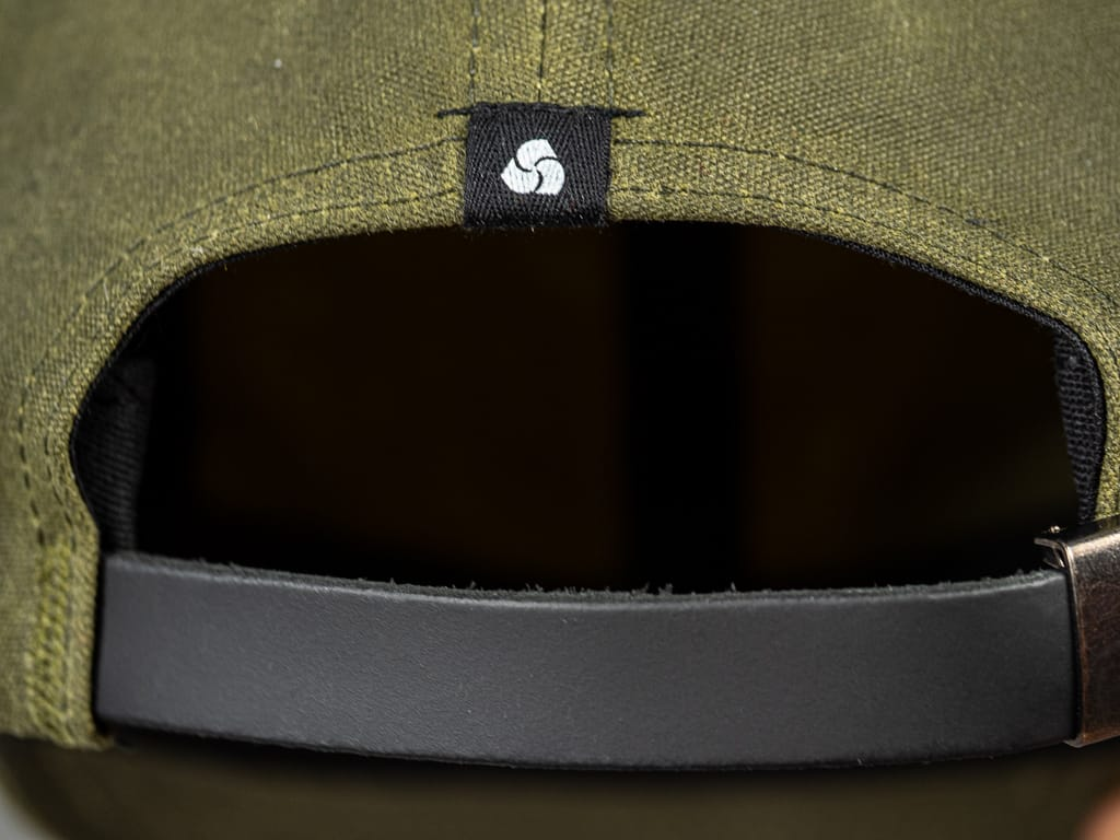 3sixteen Waxed Canvas Baseball Cap Olive leather strap