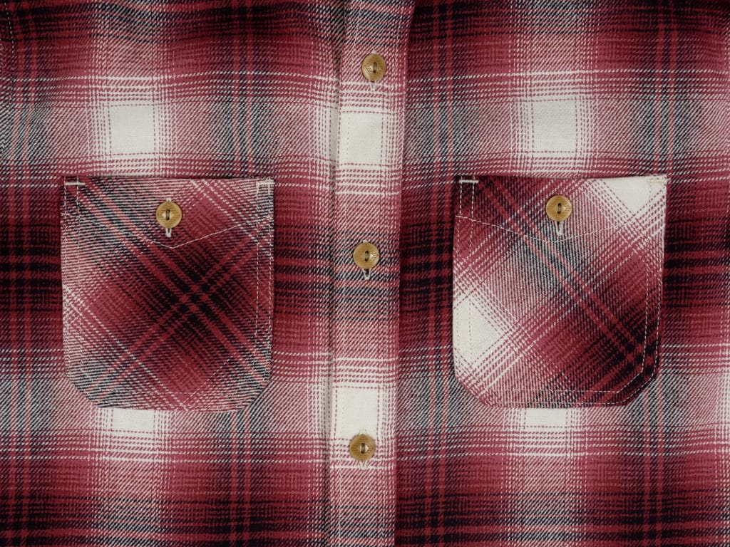 3sixteen Utility Shirt Red Flannel front pockets