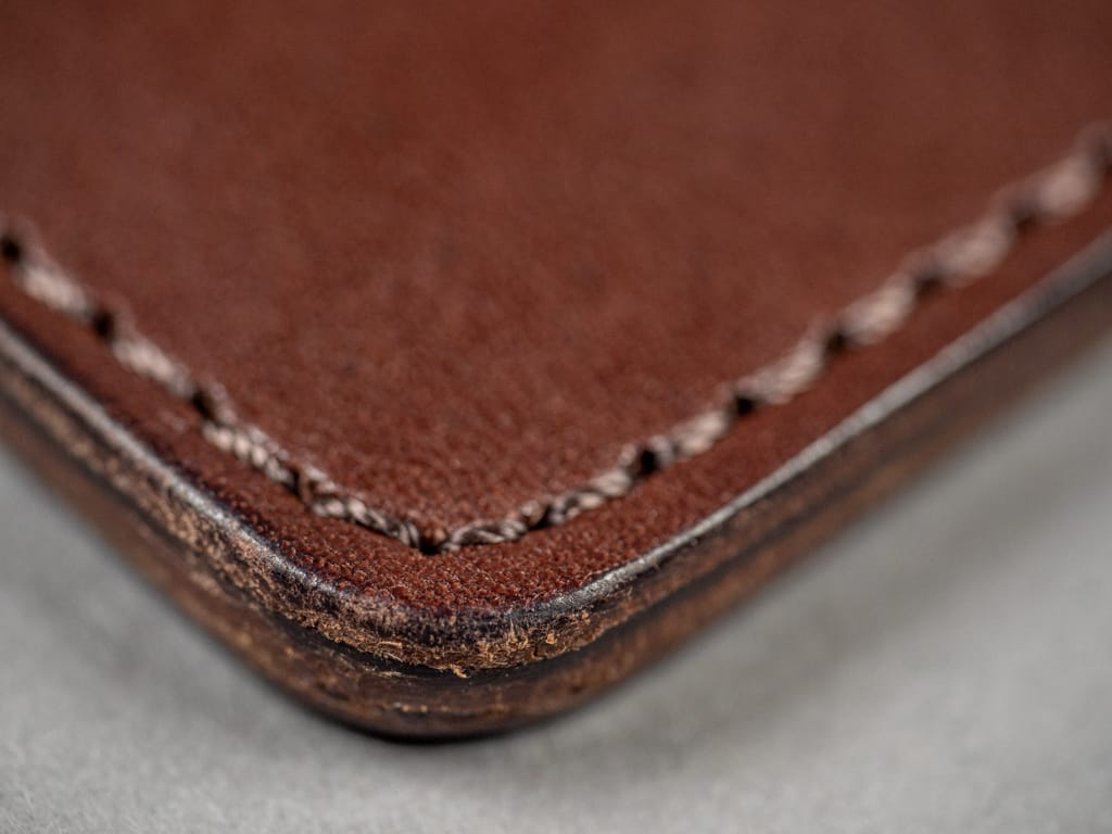 Kobashi Studio Leather Card Sleeve stitching