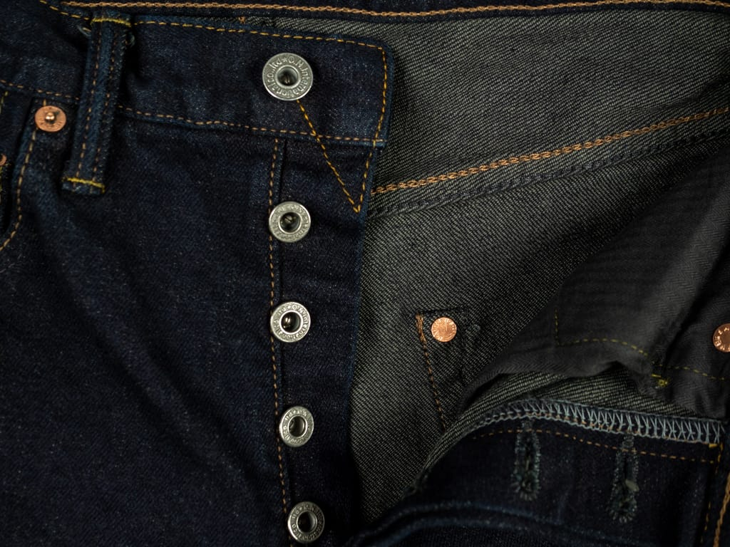 ONI 922S Deep Grey Overdye Stretch High Tapered Jeans buttons