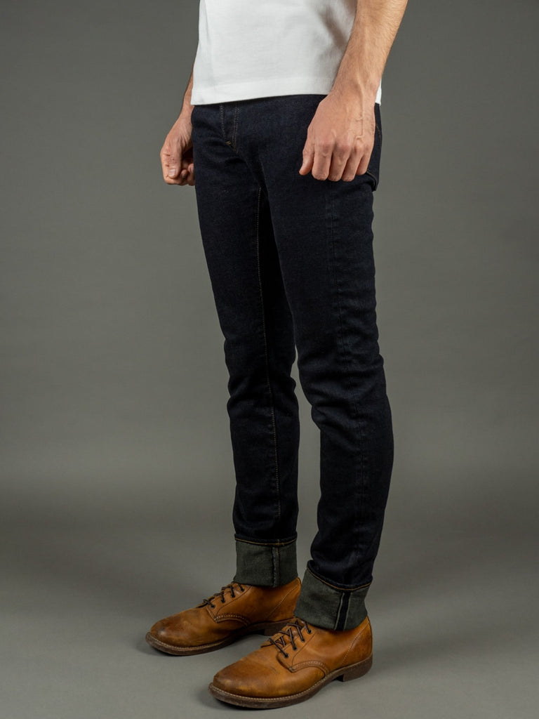 ONI Denim 922S Deep Grey Overdye Stretch High Tapered indigo Jeans selvedge