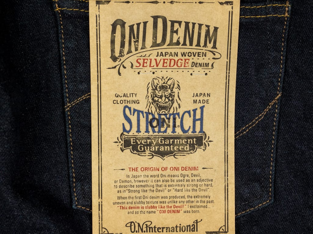 ONI 922S Deep Grey Overdye Stretch Jeans label
