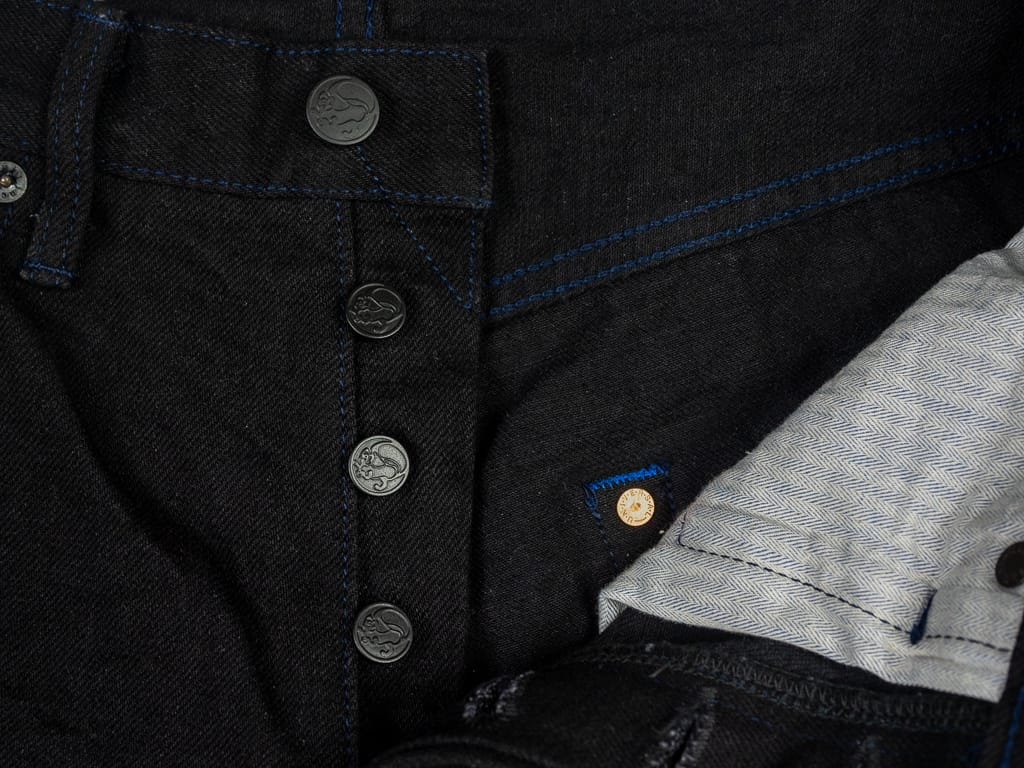 Tanuki BKHT Black Denim High Tapered Jeans buttons