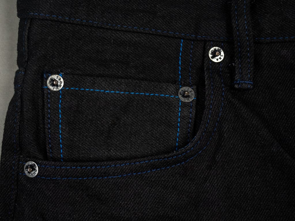 Tanuki BKHT Black Denim High Tapered Jeans coin pocket