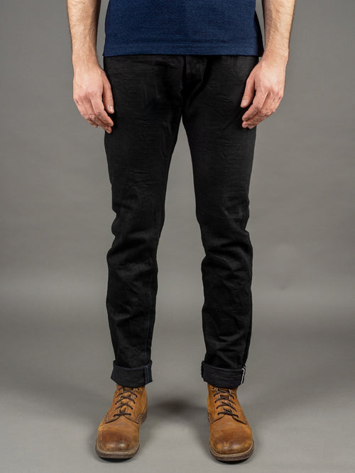 Tanuki BKHT Black Denim High Tapered Jeans front