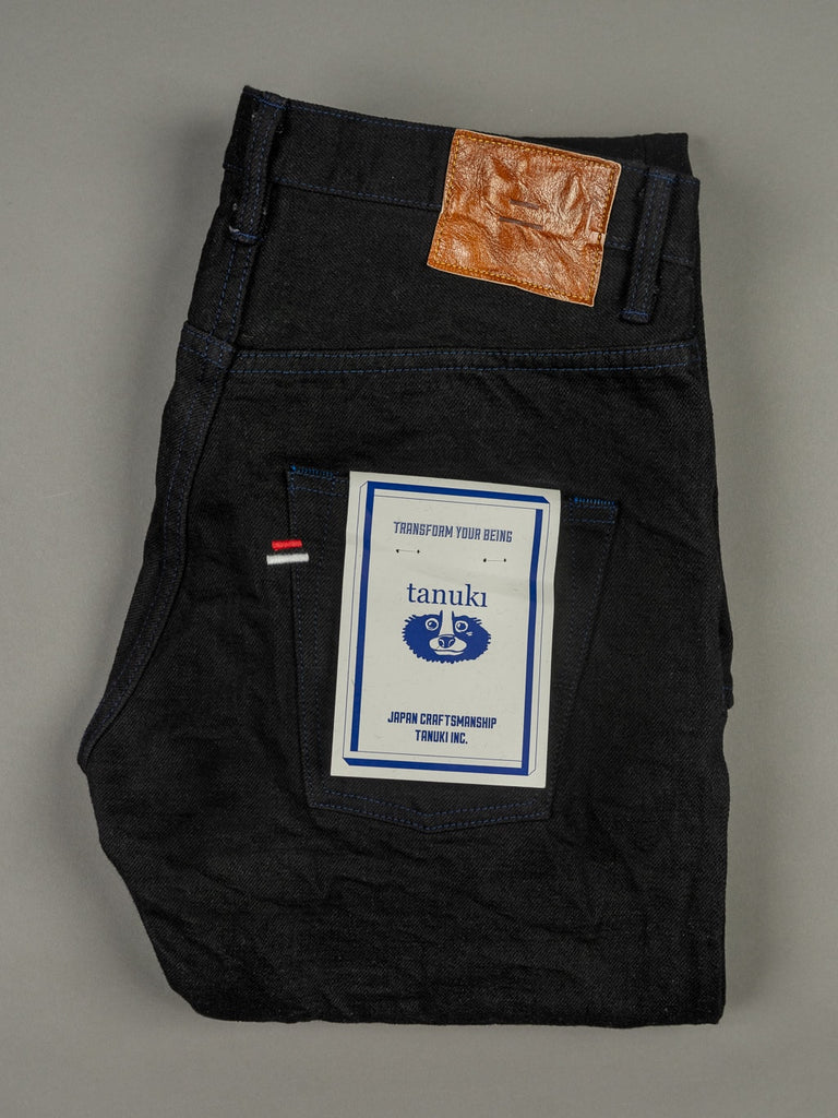 Tanuki BKHT Black Denim High Tapered Jeans label