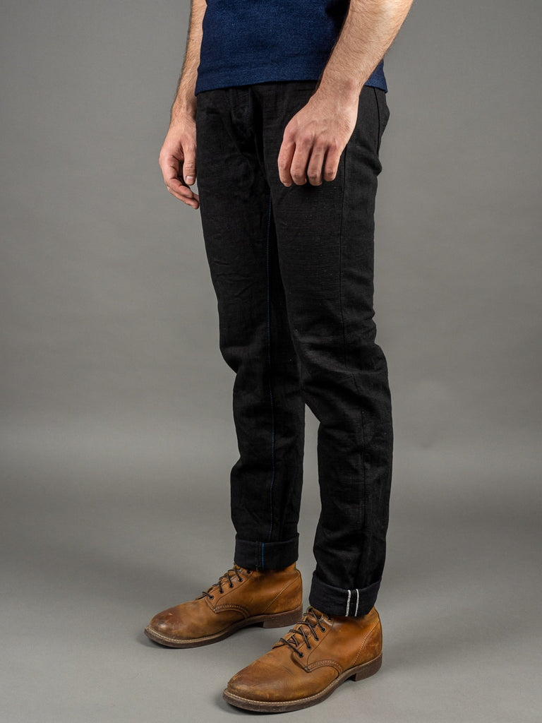 Tanuki BKHT Black Denim High Tapered Jeans side