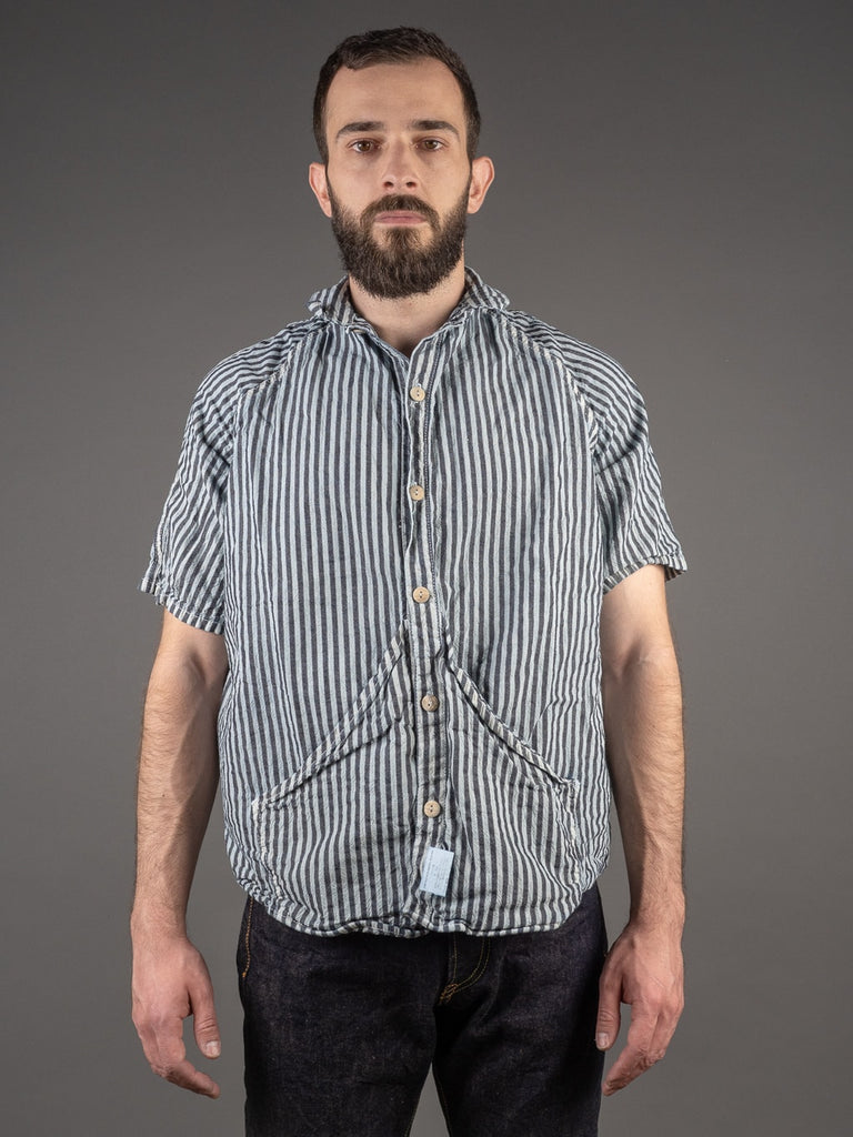 Tender Short Sleeve Raglan Wallaby Shirt Indigo Welsh Stripe Calico