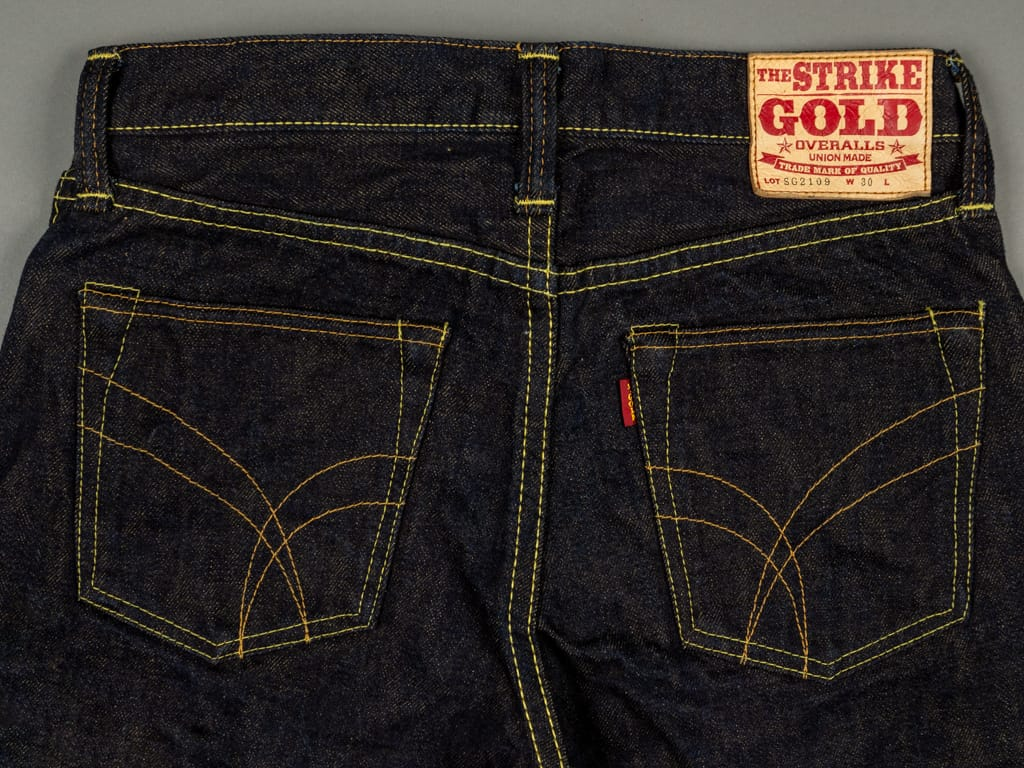 The Strike Gold 2109 Brown Weft Jeans back pockets
