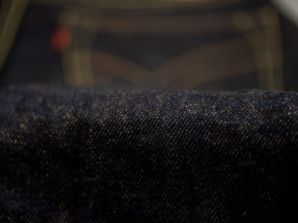 The Strike Gold 2109 Brown Weft Jeans fabric detail