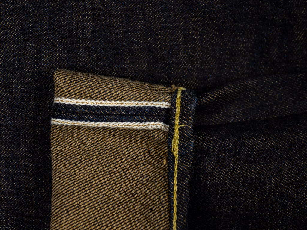The Strike Gold 2109 Brown Weft Jeans selvedge detail