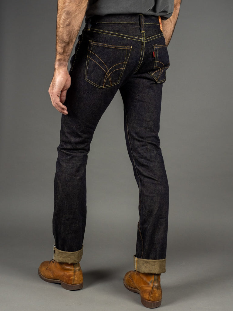 The Strike Gold 2109 Brown Weft Slim Tapered Jeans fit