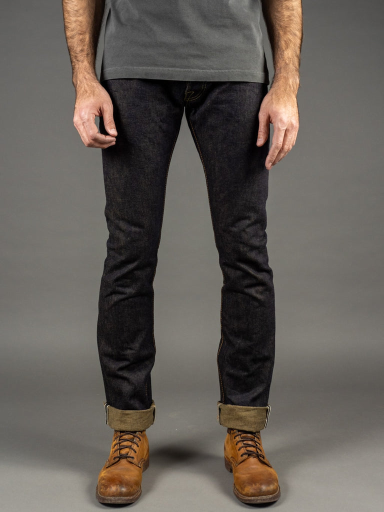 The Strike Gold 2109 Brown Weft Slim Tapered Jeans front