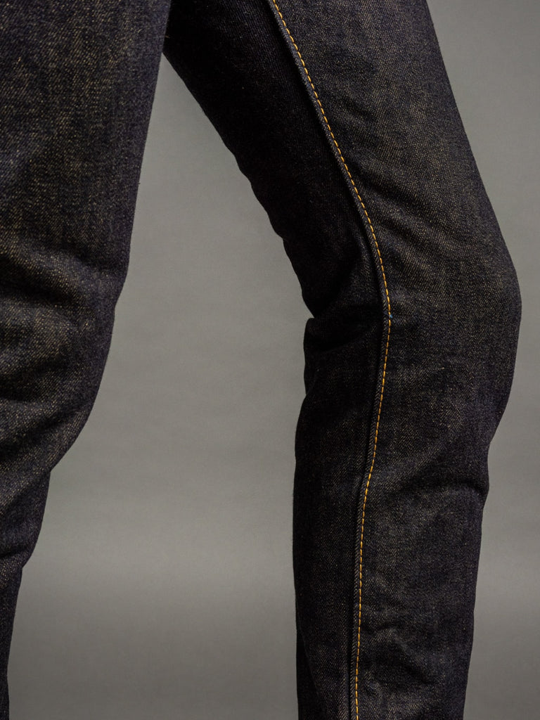 The Strike Gold 2109 Brown Weft Slim Tapered Jeans inseam