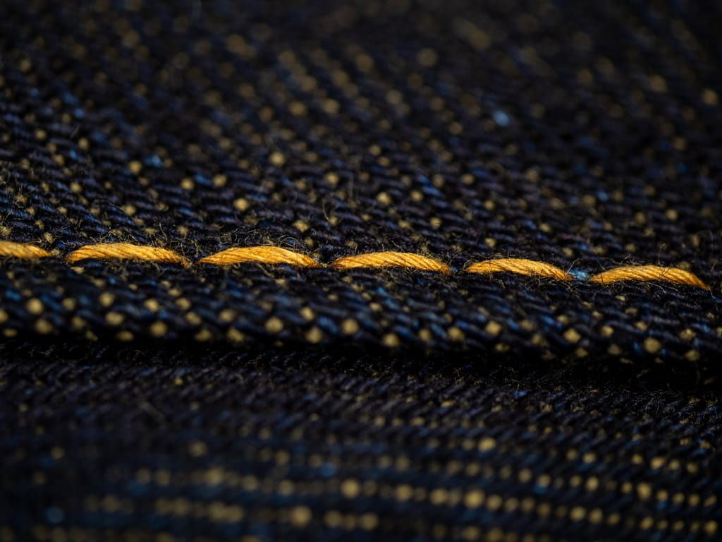 The Strike Gold 2109 Brown Weft Jeans stitching