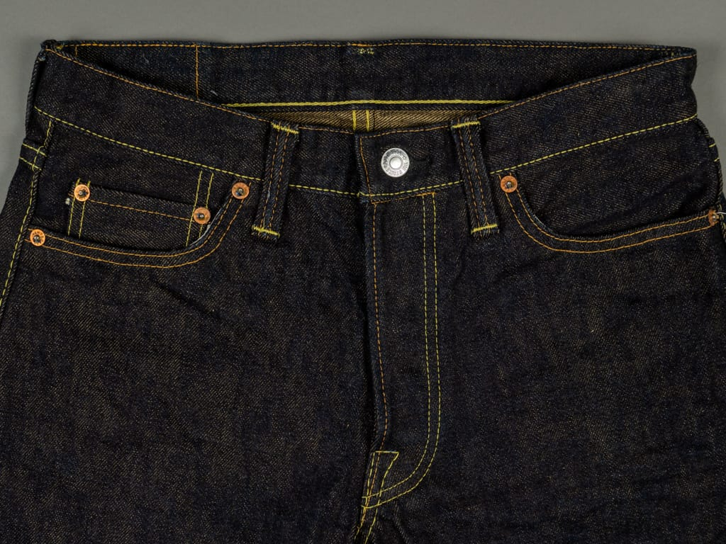 The Strike Gold 2109 Brown Weft Slim Tapered Jeans waist