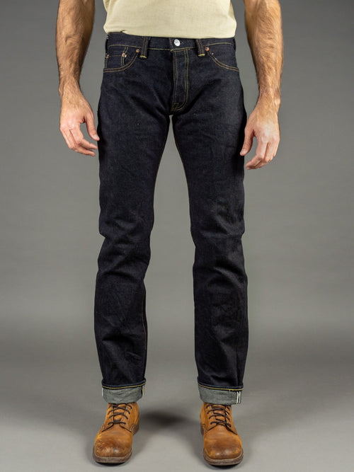 The Strike Gold 9105 Grey Weft 24oz Slim Straight Jeans front